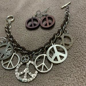 Jewelry - Peace Sign Charm Bracelet and Peace Sign Earrings